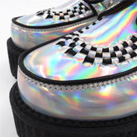 holographic silver lace-up platform creepers - Creepers
