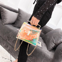Holographic Transparent Chain Strap Crossbody Bag - Purse