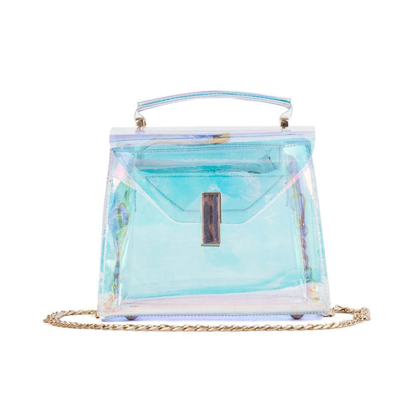 Holographic Transparent Chain Strap Crossbody Bag - Holographic - Purse