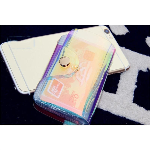 Holographic Transparent Small Card Holder Wallet - Wallet