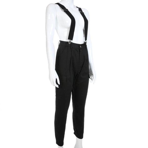 Jet Black High Waist Suspender Cargo Pants - Pants