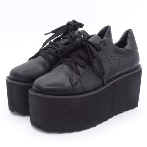 Jet Black Ultra Platform Creeper Sneakers - Black / 6 - Sneakers