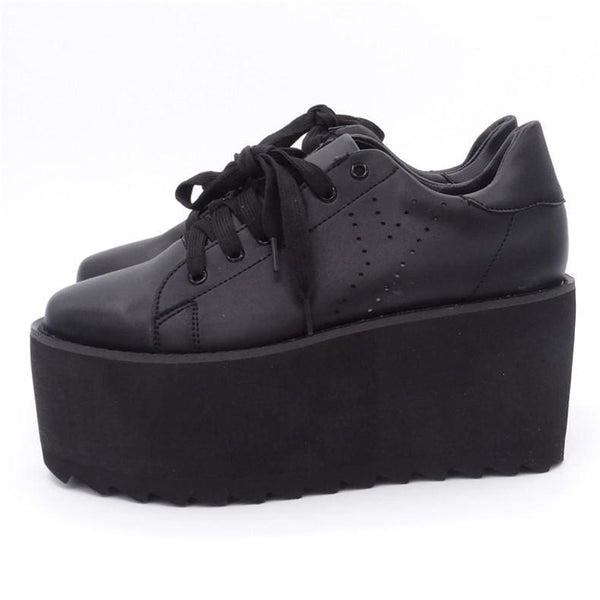 Jet Black Ultra Platform Creeper Sneakers - Sneakers