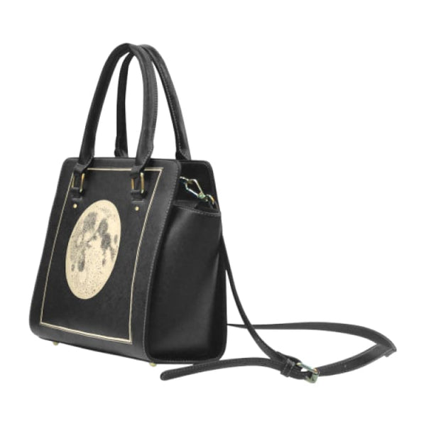Vintage Moon Illustration Faux Leather Top Handle Crossbody Handbag - Purse