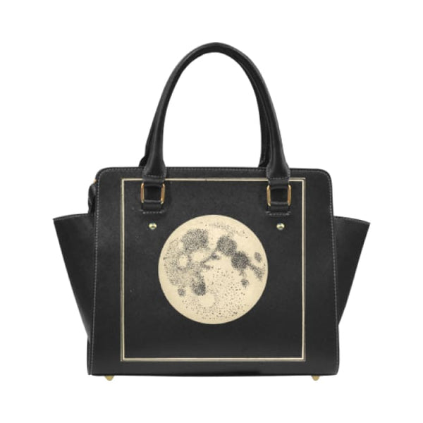 Vintage Moon Illustration Faux Leather Top Handle Crossbody Handbag - Black - Purse