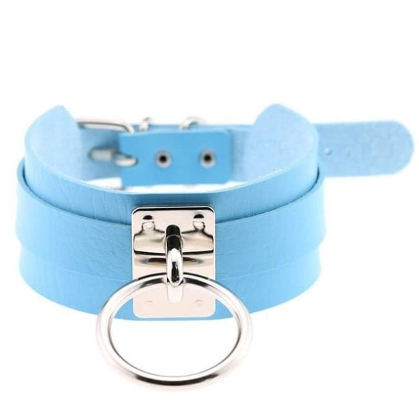 Layered Faux Leather Buckled O-Ring Collar Choker - Aqua Blue - Choker
