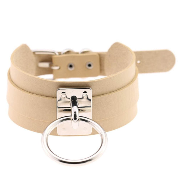 Layered Faux Leather Buckled O-Ring Collar Choker - Beige - Choker