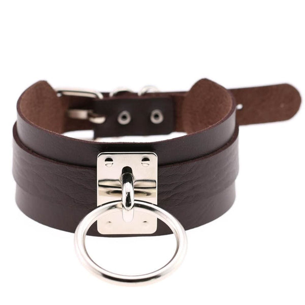 Layered Faux Leather Buckled O-Ring Collar Choker - Coffee - Choker