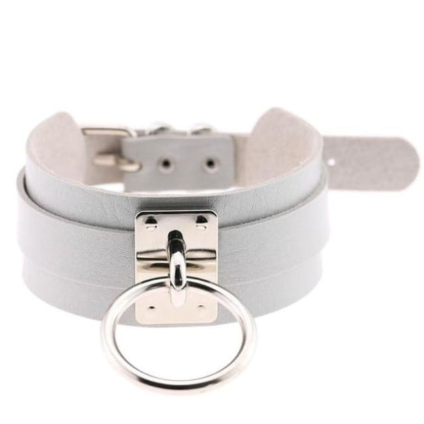 Layered Faux Leather Buckled O-Ring Collar Choker - Gray - Choker