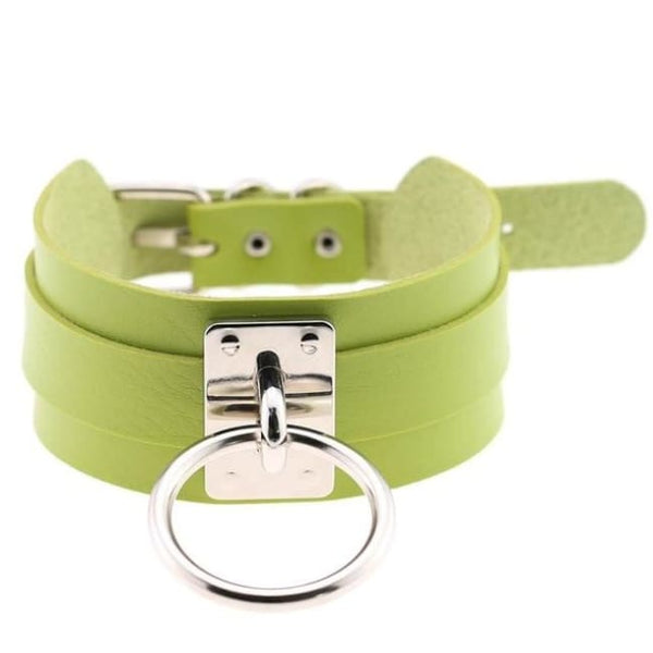 Layered Faux Leather Buckled O-Ring Collar Choker - Lime Green - Choker