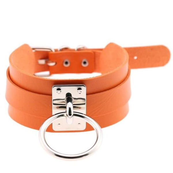 Layered Faux Leather Buckled O-Ring Collar Choker - Orange - Choker