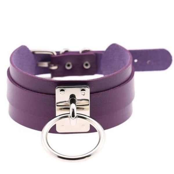 Layered Faux Leather Buckled O-Ring Collar Choker - Purple - Choker