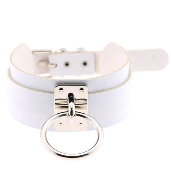 Layered Faux Leather Buckled O-Ring Collar Choker - White - Choker