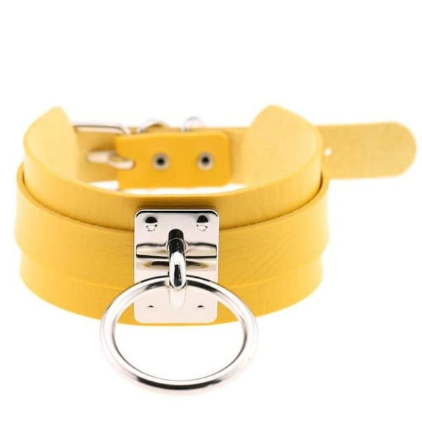 Layered Faux Leather Buckled O-Ring Collar Choker - Yellow - Choker