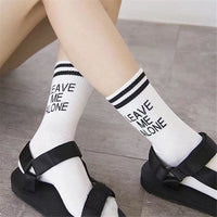 Leave Me Alone Retro Striped Socks - Socks