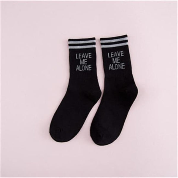 Leave Me Alone Retro Striped Socks - Black/white / M - Socks