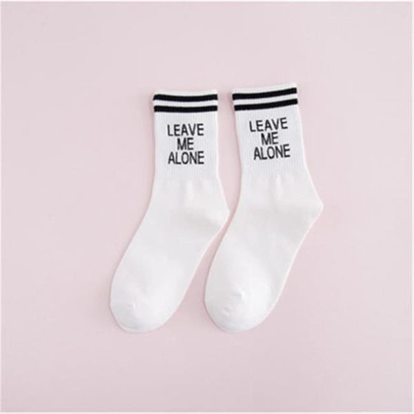 Leave Me Alone Retro Striped Socks - White/black / M - Socks