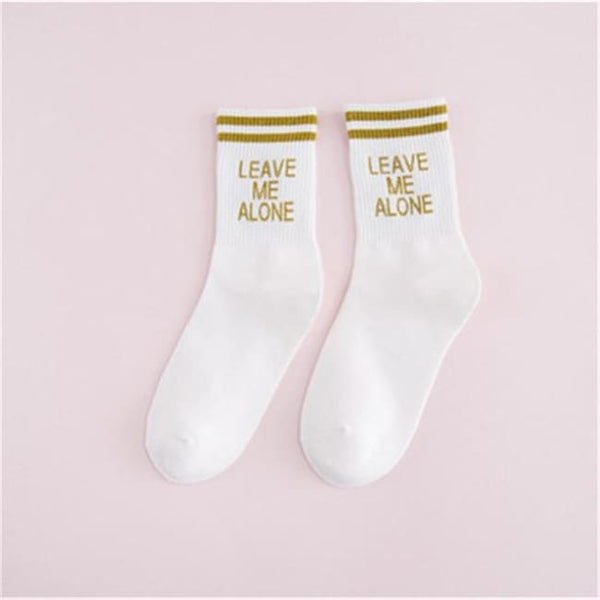 Leave Me Alone Retro Striped Socks - White/gold / M - Socks