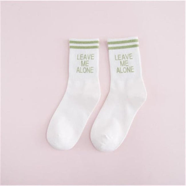 Leave Me Alone Retro Striped Socks - White/green / M - Socks