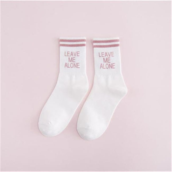 Leave Me Alone Retro Striped Socks - White/pink / M - Socks