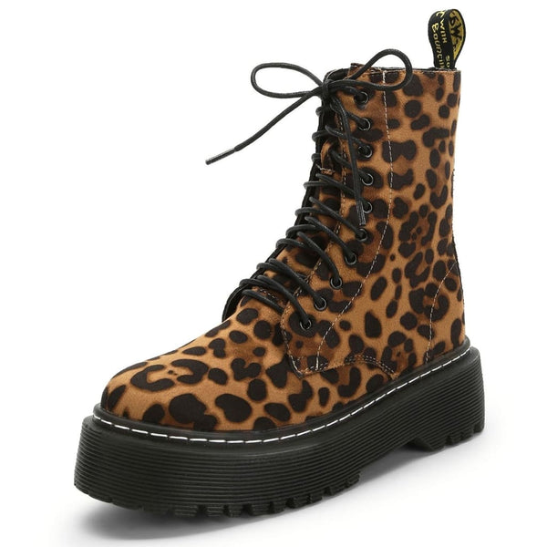 Leopard Print Lace-Up Combat Boots - Brown / 5 - Boots