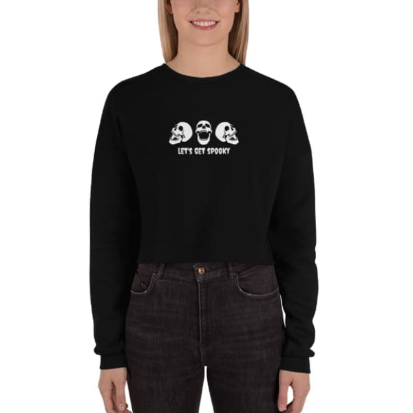 Lets Get Spooky Crop Sweatshirt - Black / S - Crop Sweatshirt