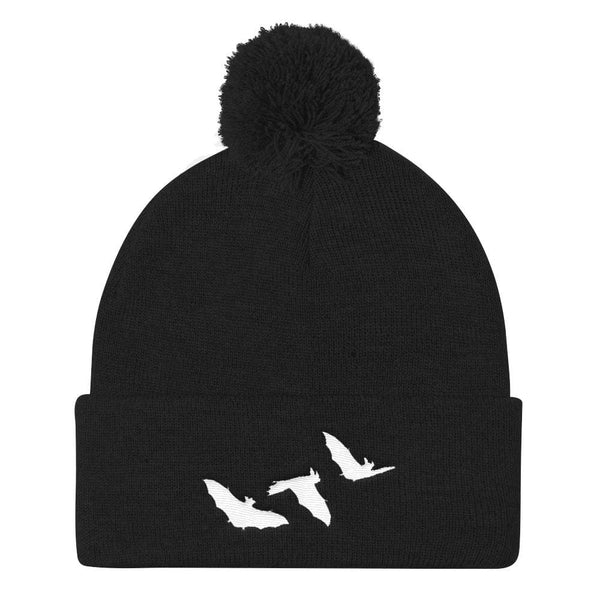 Little Bats Cuffed Embroidered Pom Pom Beanie - Black - Beanie