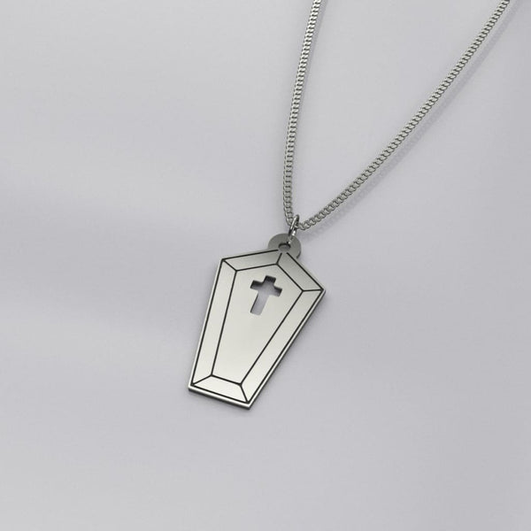 Little Coffin Sterling Silver Necklace - Oxidized Sterling Silver - Necklace
