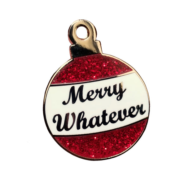 Merry Whatever Glitter Ornament Hard Enamel Pin - Gold - Enamel Pin