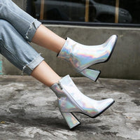 metallic pointed toe block heel ankle boots - Womens Boots