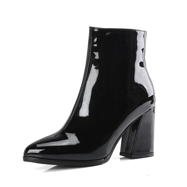 metallic pointed toe block heel ankle boots - Black / 5 - Womens Boots