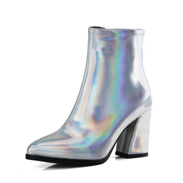 metallic pointed toe block heel ankle boots - Holographic / 5 - Womens Boots