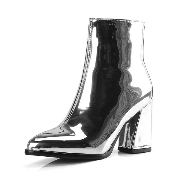 metallic pointed toe block heel ankle boots - Silver / 5 - Womens Boots