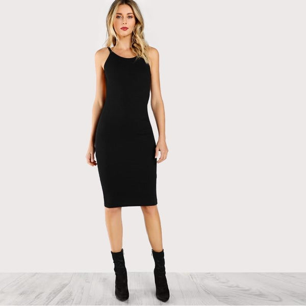 mid length low back fitted black dress - Dress