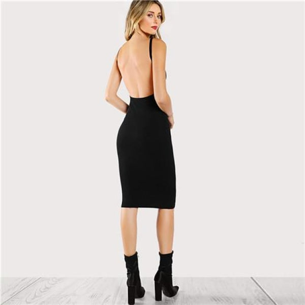 mid length low back fitted black dress - Black / XS - Dress