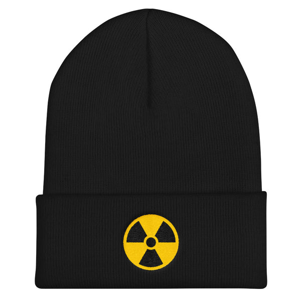 Radioactive Fallout Warning Sign Cuffed Embroidered Beanie - Black - Beanie