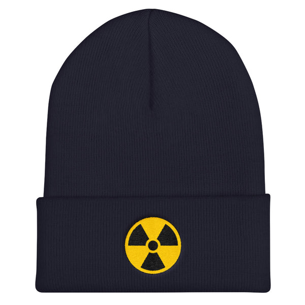Radioactive Fallout Warning Sign Cuffed Embroidered Beanie - Navy - Beanie