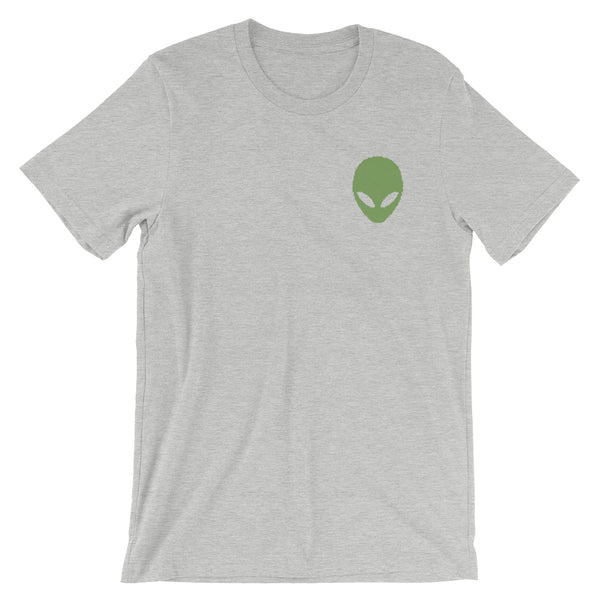 Pixel Alien Embroidered Unisex Tee - Athletic Heather / S - Unisex Tee