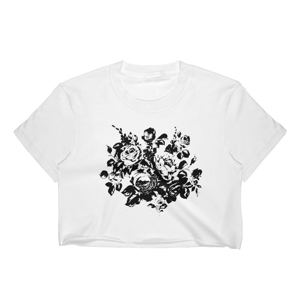 Monochrome Floral Silhouette Crop Top Tee - White / S - Crop Top
