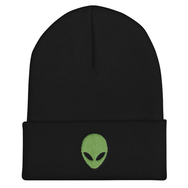 Pixel Alien Cuffed Embroidered Beanie - Black - Beanie