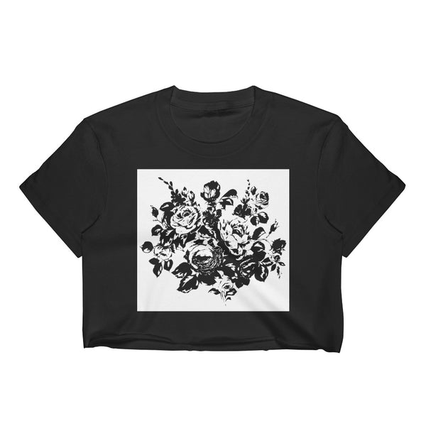 Monochrome Floral Silhouette Crop Top Tee - Black / S - Crop Top