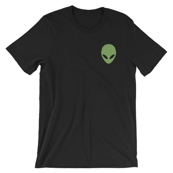 Pixel Alien Embroidered Unisex Tee - Black / Xs - Unisex Tee