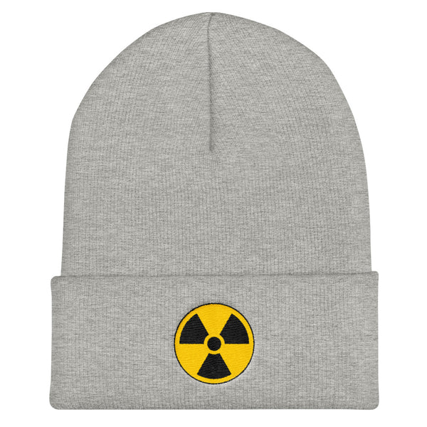 Radioactive Fallout Warning Sign Cuffed Embroidered Beanie - Heather Grey - Beanie
