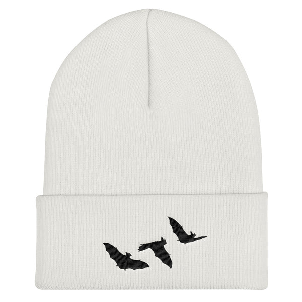 Little Bats Cuffed Embroidered Beanie - White - Beanie