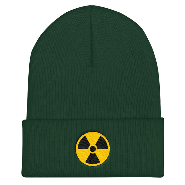 Radioactive Fallout Warning Sign Cuffed Embroidered Beanie - Spruce - Beanie