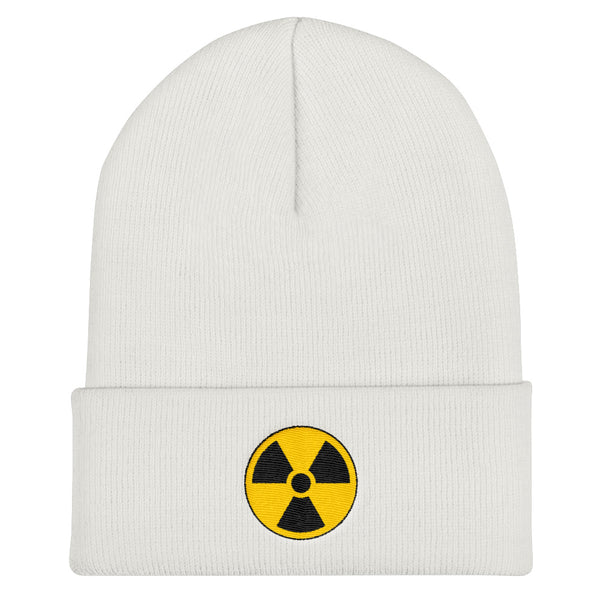 Radioactive Fallout Warning Sign Cuffed Embroidered Beanie - White - Beanie