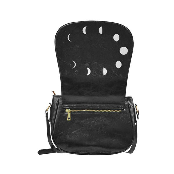 Moon Phases Faux Leather Envelope Crossbody Bag - Purse
