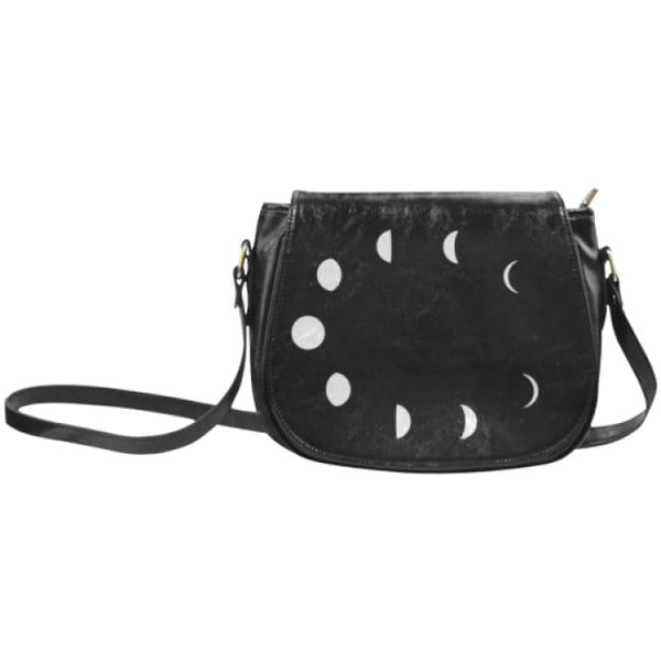 Moon Phases Faux Leather Envelope Crossbody Bag - Black / Small - Purse