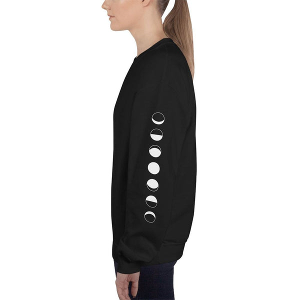 moon phases sleeve printed unisex sweatshirt - Black / S - Sweatshirt