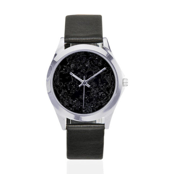 northern hemisphere constellation map black faux leather strap watch - Black - Watch